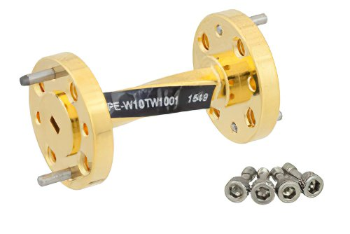 WR-10 90 Degree Waveguide Twist With a UG-387/U-Mod Flange Operating From 75 GHz to 110 GHz