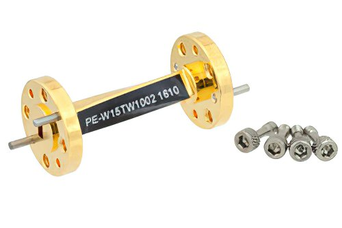 WR-15 45 Degree Left-hand Waveguide Twist With a UG-385/U Flange Operating From 50 GHz to 75 GHz