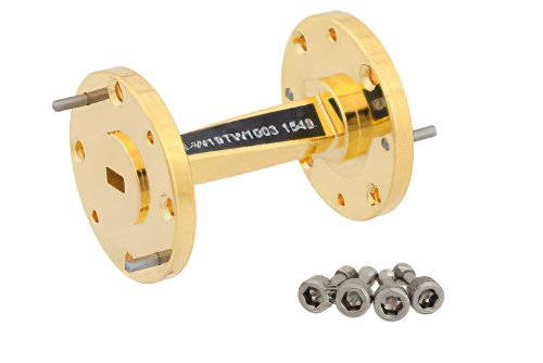 WR-19 45 Degree Right-hand Waveguide Twist With a UG-383/U-Mod Flange Operating From 40 GHz to 60 GHz