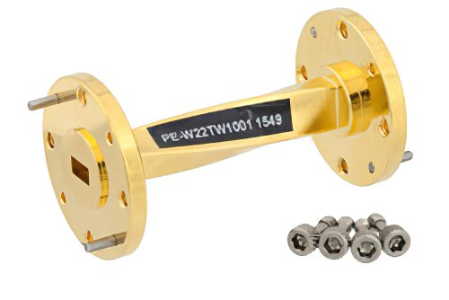 WR-22 90 Degree Waveguide Twist With a UG-383/U Flange Operating From 33 GHz to 50 GHz