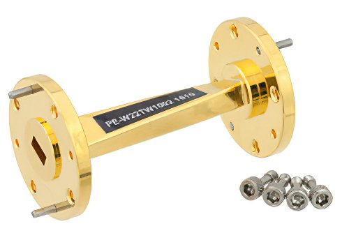 WR-22 45 Degree Left-hand Waveguide Twist With a UG-383/U Flange Operating From 33 GHz to 50 GHz