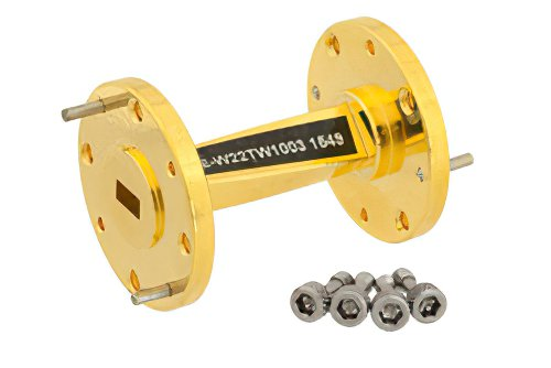 WR-22 45 Degree Right-hand Waveguide Twist With a UG-383/U Flange Operating From 33 GHz to 50 GHz