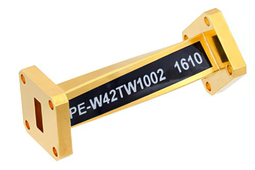 WR-42 45 Degree Left-hand Waveguide Twist With a UG-595/U Flange Operating From 18 GHz to 26.5 GHz