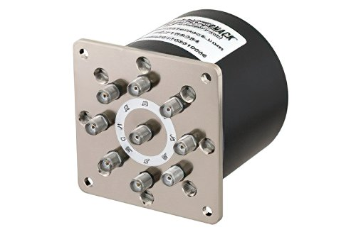 SP8T Electromechanical Relay Normally Open Switch, DC to 18 GHz, up to 90W, 12V, SMA