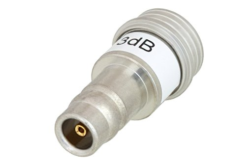 3 dB Fixed Attenuator, QN Male to QN Female Brass Tri-Metal Body Rated to 1 Watt Up to 3 GHz