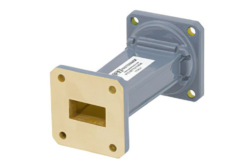 WR-90 to WR-75 Waveguide Transition 3 Inch Length, UG-39/U Square Cover Flange to Square Cover Flange
