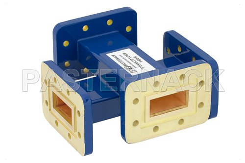 WR-112 30 dB Waveguide Crossguide Coupler, CPR-112G Grooved Flange, 7.05 GHz to 10 GHz