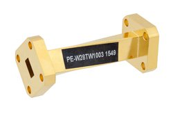 WR-28 45 Degree Right-hand Waveguide Twist With a UG-599/U Flange Operating From 26.5 GHz to 40 GHz