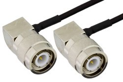 TNC Male Right Angle to TNC Male Right Angle Precision Cable Using PE-SR405FLJ Coax, RoHS