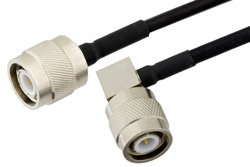 TNC Male to TNC Male Right Angle Precision Cable Using PE-SR402FLJ Coax, RoHS