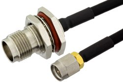 SMA Male to TNC Female Bulkhead Precision Cable Using PE-SR402FLJ Coax, RoHS