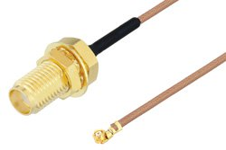 SMA Female Bulkhead to UMCX 2.5 Plug Cable Using RG178 Coax, RoHS
