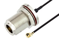 N Female Bulkhead to UMCX 2.5 Plug Cable Using 1.13mm Coax, RoHS