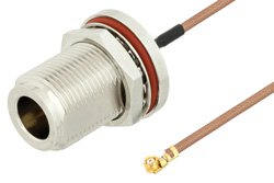 N Female Bulkhead to UMCX 2.5 Plug Cable Using RG178 Coax, RoHS