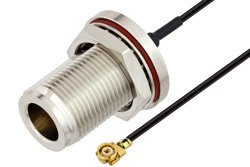 N Female Bulkhead to UMCX 2.1 Plug Cable Using 0.81mm Coax, RoHS