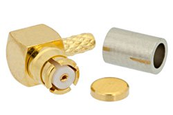 SMP Female Right Angle Connector Crimp/Crimp Attachment For RG178B, RG196A, Up To 8GHz