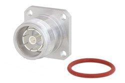 4.3-10 Female Low PIM Connector Solder Attachment 4 Hole Flange Mount for RG402, PE-SR402AL, PE-SR402FL, PE-SR402FLJ, IP67 Rated