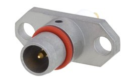 BMA Plug Slide-On Connector Solder Attachment 2 Hole Flange Mount Stub Terminal, .481 inch Hole Spacing, Rated to 22GHz