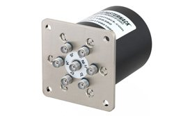 SP6T Electromechanical Relay Normally Open Switch, Terminated, DC to 18 GHz, up to 90W, 12V, SMA