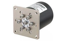 SP6T Electromechanical Relay Normally Open Switch, Terminated, DC to 18 GHz, up to 90W, 28V, SMA