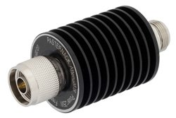 3 dB Fixed Attenuator, N Male To N Female Aluminum Heatsink Black Anodized Body Rated To 25 Watts Up To 4 GHz