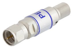 16 dB Fixed Attenuator, 75 Ohm F Male To 75 Ohm F Female Brass Tri-Metal Body Rated To 2 Watts Up To 3 GHz