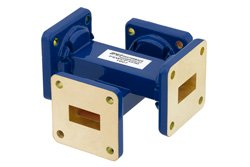 WR-62 50 dB Waveguide Crossguide Coupler, UG-419/U Square Cover Flange, 12.4 GHz to 18 GHz