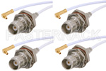 MMCX Plug Right Angle to TNC Female Cable Assemblies