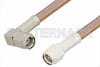 SMA Male to SMA Male Right Angle Cable Using RG400 Coax, RoHS