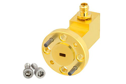 WR-10 UG-387/U-Mod Round Cover Flange to 1.0mm Female Waveguide to Coax Adapter Operating From 75 GHz to 110 GHz, W Band