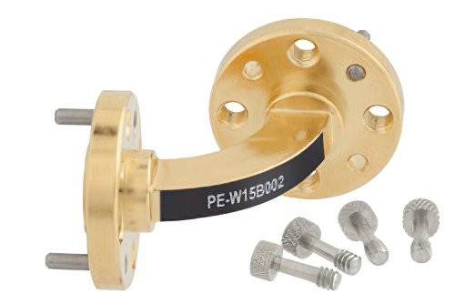 WR-15 Instrumentation Grade Waveguide H-Bend with UG-385/U Flange Operating from 50 GHz to 75 GHz