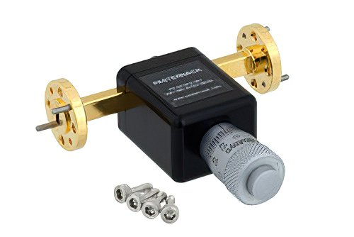0 to 180 Degree WR-15 Waveguide Phase Shifter, From 50 GHz to 75 GHz, With a UG-385/U Round Cover Flange
