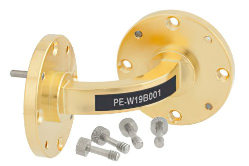 WR-19 Instrumentation Grade Waveguide E-Bend with UG-383/U-Mod Flange Operating from 40 GHz to 60 GHz