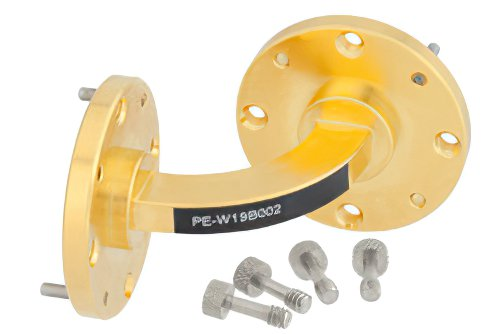 WR-19 Instrumentation Grade Waveguide H-Bend with UG-383/U-Mod Flange Operating from 40 GHz to 60 GHz