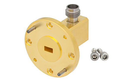 WR-19 UG-383/U-Mod Round Cover Flange to 1.85mm Female Waveguide to Coax Adapter Operating From 40 GHz to 60 GHz, U Band