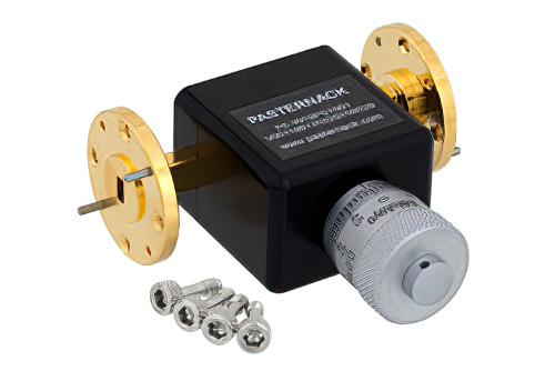 0 to 180 Degree WR-19 Waveguide Phase Shifter, From 40 GHz to 60 GHz, With a UG-383/U-Mod Round Cover Flange
