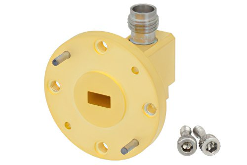 WR-22 UG-383/U Round Cover Flange to 2.4mm Female Waveguide to Coax Adapter Operating From 33 GHz to 50 GHz, Q Band