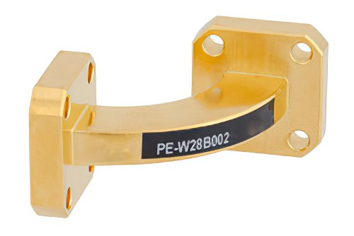 WR-28 Instrumentation Grade Waveguide H-Bend with UG-599/U Flange Operating from 26.5 GHz to 40 GHz