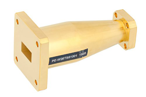 WR-28 to WR-51 Waveguide Transition 2.5 Inch Length, UG-599/U Square Cover Flange to UBR-180/U-Mod Flange