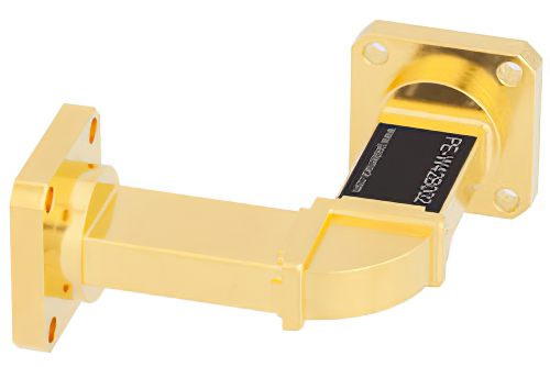 WR-42 Instrumentation Grade Waveguide H-Bend with UG-595/U Flange Operating from 18 GHz to 26.5 GHz