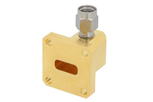 WR-42 UG-595/U Square Cover Flange to 2.92mm Male Waveguide to Coax Adapter Operating From 18 GHz to 26.5 GHz, K Band