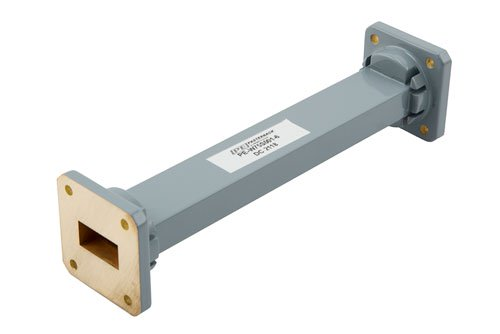WR-75 Commercial Grade Straight Waveguide Section 6 Inch Length with UBR120 Flange Operating from 10 GHz to 15 GHz