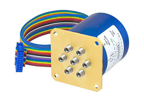 SP6T 0.05 dB Low Insertion Loss Repeatability Relay Latching Switch, Terminated, DC to 40 GHz, 5W, 24V, Indicators, TTL, 2.92mm