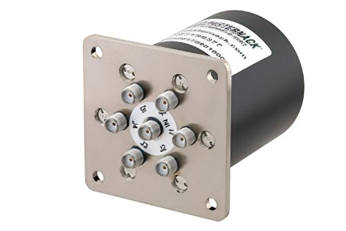 SP6T Electromechanical Relay Latching Switch, Terminated, DC to 18 GHz, up to 90W, 28V, SMA