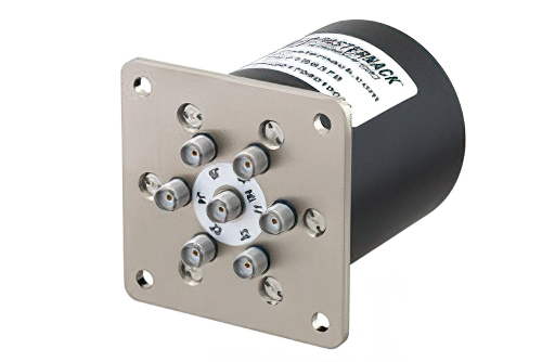 SP6T Electromechanical Relay Latching Switch, Terminated, DC to 26.5 GHz, up to 90W, 12V, SMA