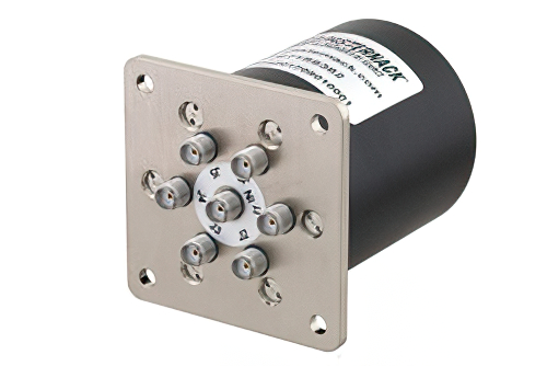SP6T Electromechanical Relay Normally Open Switch, Terminated, DC to 26.5 GHz, up to 90W, 12V, SMA