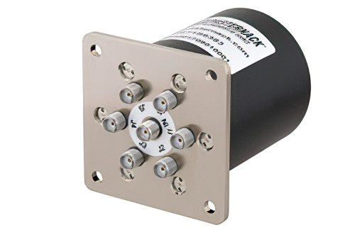 SP6T Electromechanical Relay Normally Open Switch, Terminated, DC to 26.5 GHz, up to 90W, 28V, SMA
