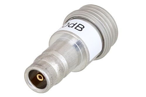 0 dB Fixed Attenuator, QN Male to QN Female Brass Tri-Metal Body Rated to 1 Watt Up to 3 GHz