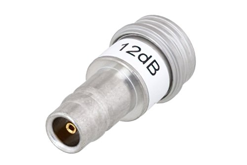 12 dB Fixed Attenuator, QN Male to QN Female Brass Tri-Metal Body Rated to 1 Watt Up to 3 GHz