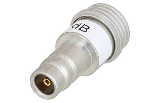 15 dB Fixed Attenuator, QN Male to QN Female Brass Tri-Metal Body Rated to 1 Watt Up to 3 GHz